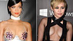 Les robes de Miley Cyrus et Rihanna font sensation dans une soirée contre le sida