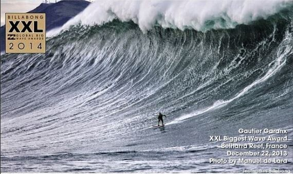 Le prix de la plus grosse vague surfée revient à un Français aux Billabong XXL Awards 2014