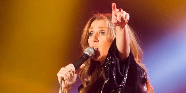 PARIS, FRANCE - DECEMBER 05: Singer Celine Dion performs at the Palais Omnisports de Bercy on December...