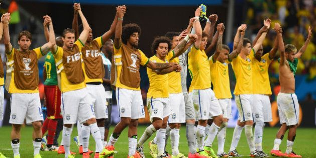 BRASILIA, BRAZIL - JUNE 23: Brazil acknowledge the fans after defeating Cameroon 4-1 during the 2014...