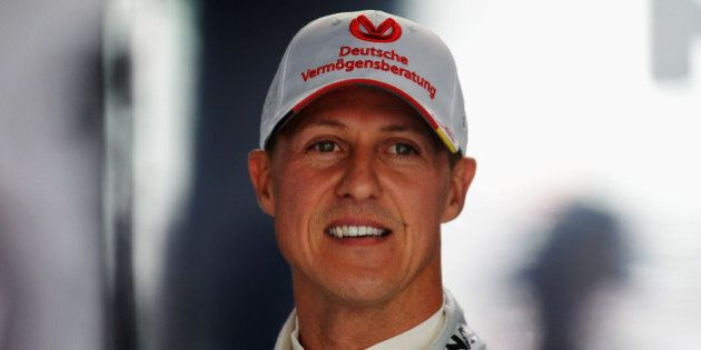 HOCKENHEIM, GERMANY - JULY 20: Michael Schumacher of Germany and Mercedes GP prepares to drive during...