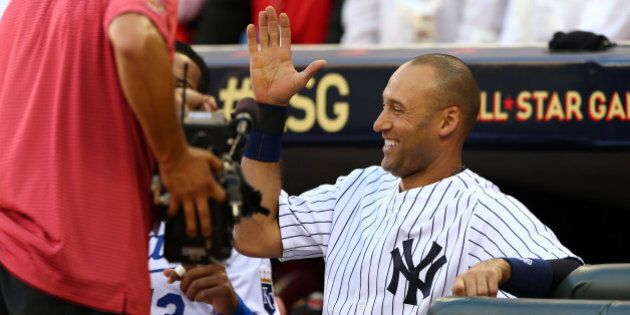 MINNEAPOLIS, MN - JULY 15: American League All-Star Derek Jeter #2 of the New York Yankees reacts after...