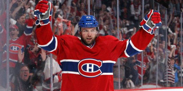 MONTREAL, QC - MAY 12: Thomas Vanek #20 of the Montreal Canadiens celebrates his second-period goal against...