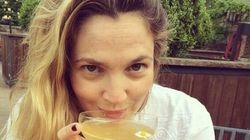 Drew Barrymore pose sans maquillage