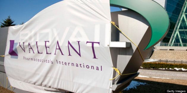 Valeant Pharmaceuticals International Inc. signage is displayed outside of the company's headquarters in Mississauga, Ontario, Canada, on Wednesday, March 30, 2011. Cephalon Inc. surged 28 percent to $75.20 in Nasdaq trading, higher than a hostile takeover bid from Valeant, Canada's largest drugmaker. Valeant Pharmaceuticals International Inc. made its cash offer of about $5.7 billion, or $73 a share, public last night after its private approaches were rejected, the company said. Photographer: Norm Betts/Bloomberg via Getty Images