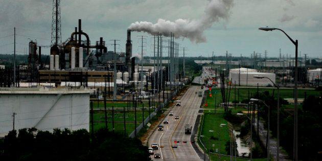 PORT ARTHUR, TEXAS - SEPT12: The Valero refinery looms on the horizon in Port Arthur Texas.Port Arthur,...