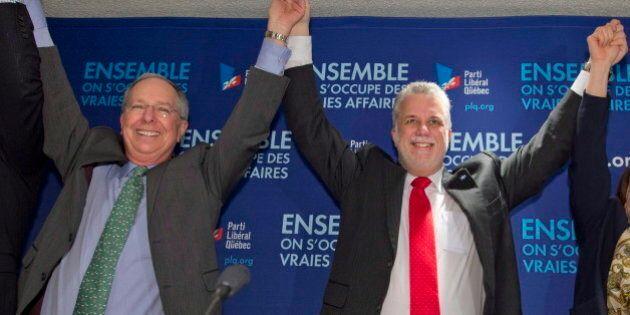 Élections 2014 - Philippe Couillard réunit ses candidats et députés pour célébrer la victoire
