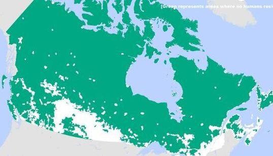 Le Canada est vraiment vide!