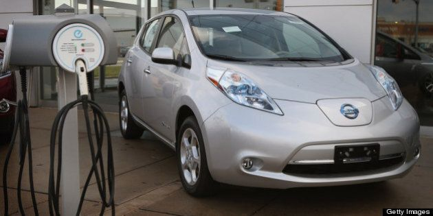 NILES, IL - DECEMBER 03: A Nissan Leaf electric vehicle is displayed at Star Nissan on December 3, 2012...