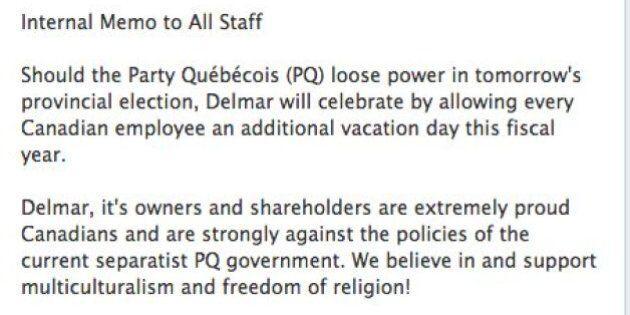 Delmar International: un jour de congé si le Parti québécois ne reprend pas le