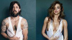 Les poses de Miranda Kerr nue dans GQ recréées avec un homme