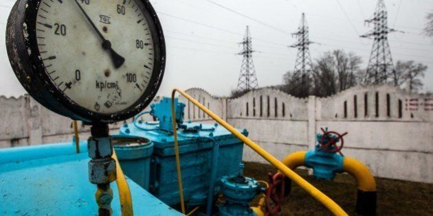 Valves of gas pipe-line are seen in the gas station not far from Kiev on March 4, 2014. The European...