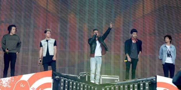 GLASGOW, SCOTLAND - MAY 24: One Direction perform live at Radio 1's Big Weekend at Glasgow Green on May...