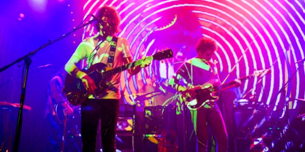 PORTLAND, OR - MAY 16: Andrew VanWyngarden of MGMT perform on stage at Crystal Ballroom on May 16, 2013...