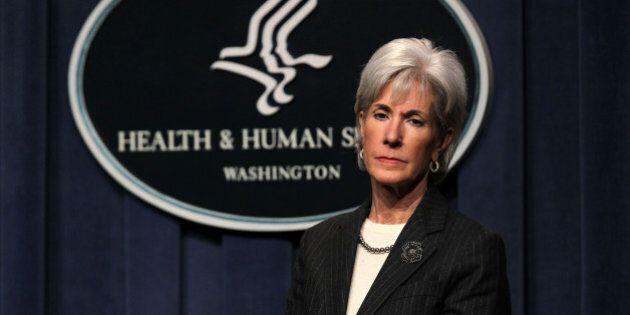 WASHINGTON, DC - DECEMBER 19: U.S. Secretary of Health and Human Services Kathleen Sebelius listens during...