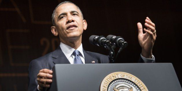 US President Barack Obama speaks at the Lyndon B. Johnson Presidential Library April 10, 2014 in Austin,...