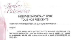 Lettre aux résidents d'une résidence pour personnes âgées: François Gendron porte