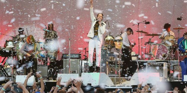 SYDNEY, AUSTRALIA - JANUARY 26: Arcade Fire perform live for fans at the 2014 Big Day Out Festival on...