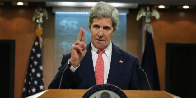 WASHINGTON, DC - APRIL 24: U.S. Secretary of State John Kerry makes a statement on Ukraine at the briefing...