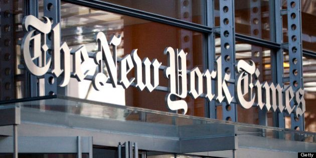 New York Times Co. signage is displayed on the company's building in New York, U.S., on Wednesday, April...