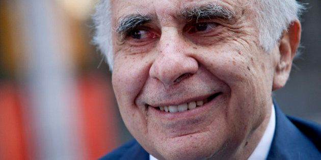 Carl Icahn, billionaire investor and chairman of Icahn Enterprises Holdings LP, stands outside of the...