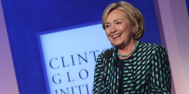 Former US Secretary of State Hillary Clinton attends the Clinton Global Initiative (CGI) on September...