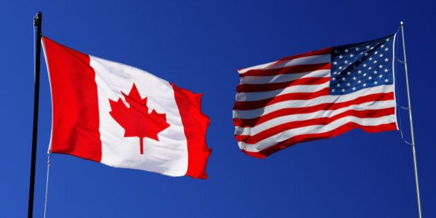 canadian and usa flag on