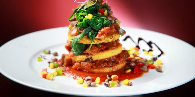 NEWTON, MA - APRIL 10: The polenta Napoleon, $12, at the Walnut Grille, a new restaurant in Newton that...