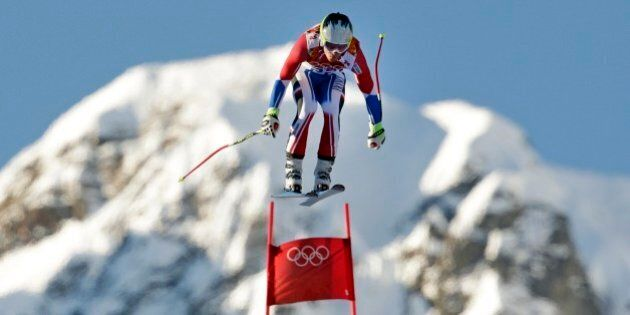 France's Alexis Pinturault makes a jump during men's downhill combined training at the Sochi 2014 Winter...