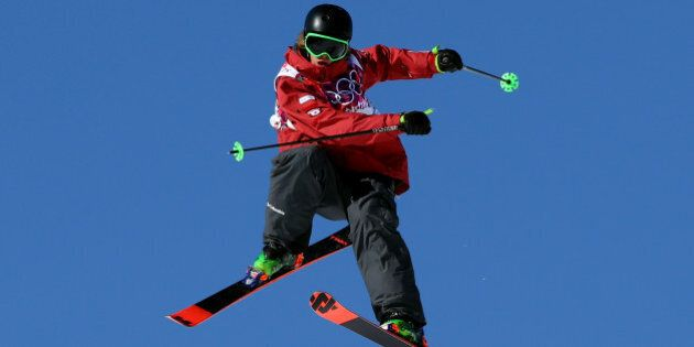 SOCHI, RUSSIA - FEBRUARY 07: Alex Beaulieu-Marchand of Canada trains during a Ski Slopestyle official...