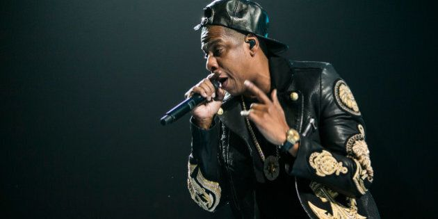 AUBURN HILLS, MI - JANUARY 10: Jay Z performs in concert during his Magna Carta World Tour at The Palace...