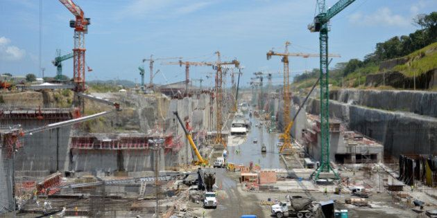 (FILES) Panama Canal locks under construction as seen on August 20, 2013. A Spanish-led consortium threatened...