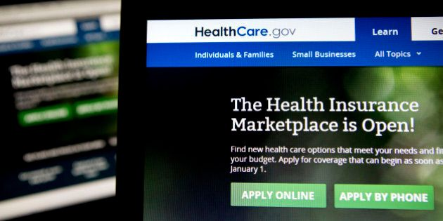 The Healthcare.gov website is displayed on laptop computers arranged for a photograph in Washington,...