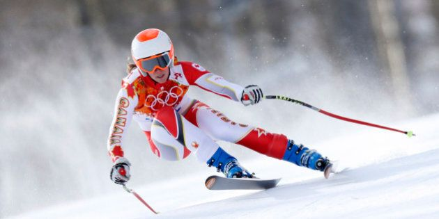 SOCHI, RUSSIA - FEBRUARY 10: (FRANCE OUT) Marie-Michele Gagnon of Canada competes during the Alpine Skiing...