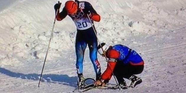 Sotchi 2014: Un entraîneur canadien aide un fondeur russe à rallier l'arrivée à