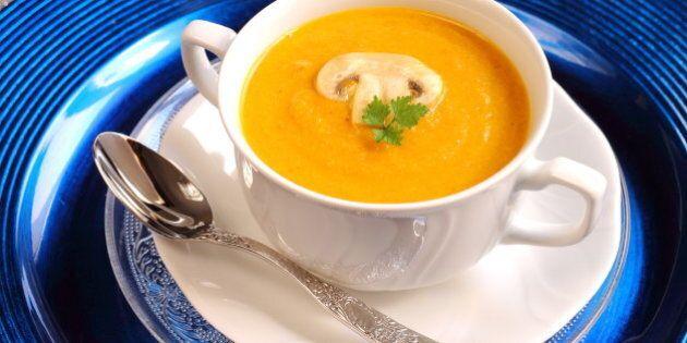 pumpkin and mushroom soup on