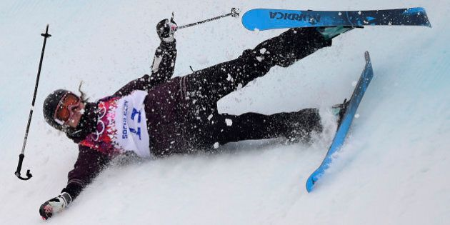 Austria's Philomena Bair falls in the Women's Freestyle Skiing Slopestyle qualification at the Rosa Khutor...