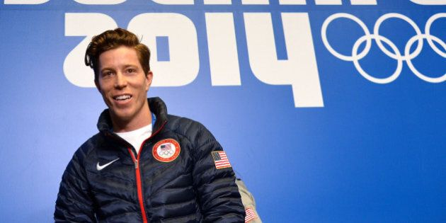 US snowboarder Shaun White speaks during a press conference at Gorky Media Center the Rosa Khutor Alpine...