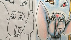 Quand un papa colorie sur les dessins de ses enfants