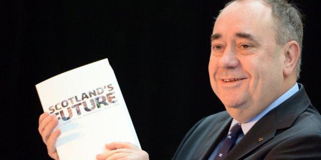 GLASGOW, SCOTLAND - NOVEMBER 26: Scottish First Minister Alex Salmond presents the White Paper for Scottish...