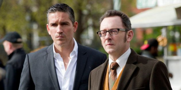 NEW YORK - APRIL 27: 'No Good Deed' -- The newest POI's curiosity could spell his doom when he finds himself embroiled in a dark government conspiracy - one that Finch (Michael Emerson, right) is all too familiar with, on PERSON OF INTEREST, Thursday, May 10 (9:00 - 10:00 PM, ET/PT) on the CBS Television Network. Meanwhile, Reese (Jim Caviezel, left) uncovers something revealing about Finch's past. (Photo by John Paul Filo/CBS via Getty Images)