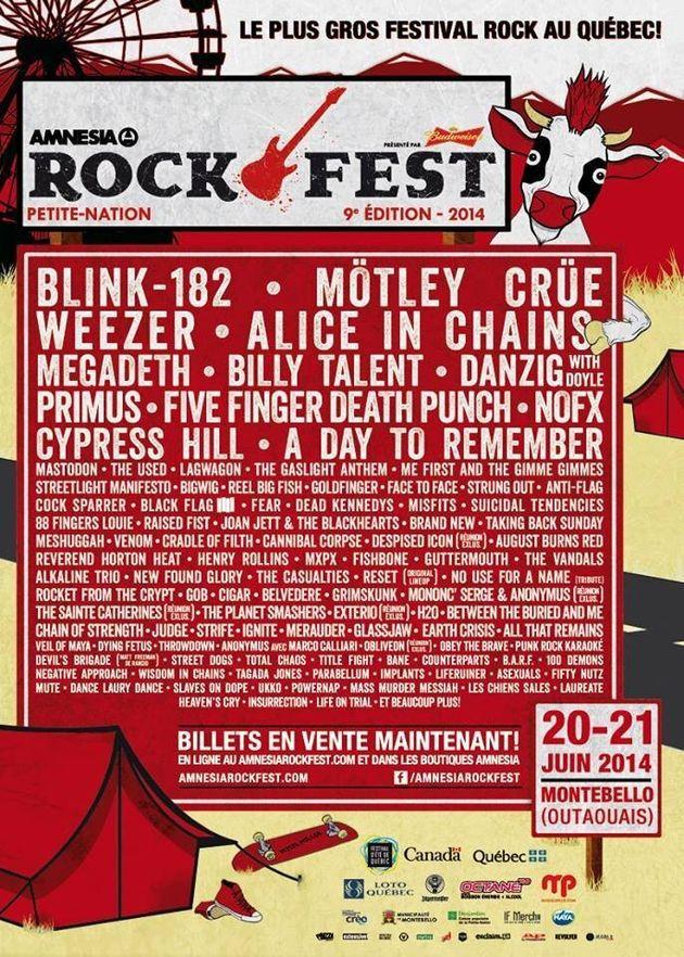 Blink-182, Weezer et Mötley Crüe au Rockfest 2014