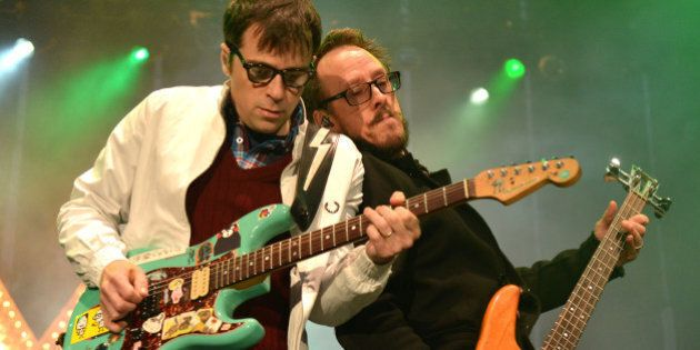 SAN FRANCISCO, CA - JULY 25: Rivers Cuomo and Scott Shriner of Weezer perform at America's Cup Pavilion...