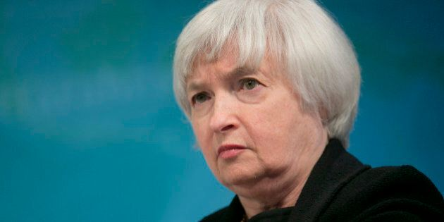 Janet Yellen, vice chairman of the U.S. Federal Reserve, listens at a macro policy discussion during...