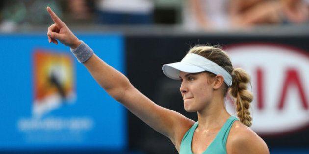 MELBOURNE, AUSTRALIA - JANUARY 15: Eugenie Bouchard of Canada celebrates winning her second round match...