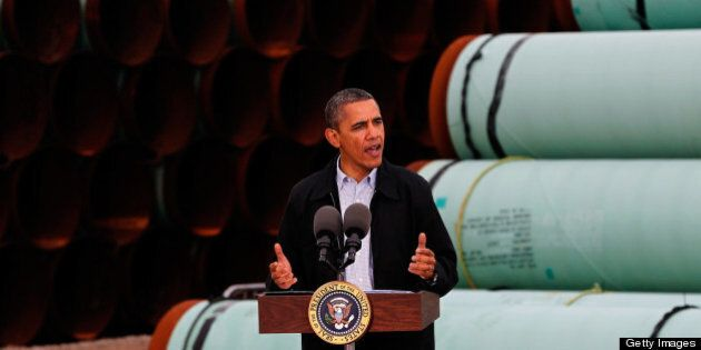 CUSHING, OK - MARCH 22: U.S. President Barack Obama speaks at the southern site of the Keystone XL pipeline...