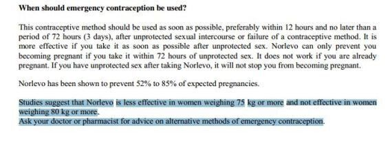 Pilule du lendemain (Norlevo) : inefficace pour les femmes de plus de 80