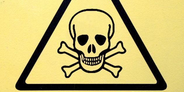 danger sign with skull