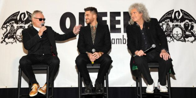 NEW YORK, NY - MARCH 06: Roger Taylor, Adam Lambert and Brian May during Queen (Brian May and Roger Taylor)...