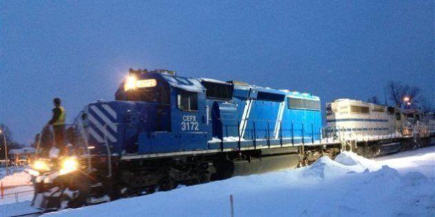 Des locomotives de la MMA au centre-ville de Lac-Mégantic pour la première fois depuis le